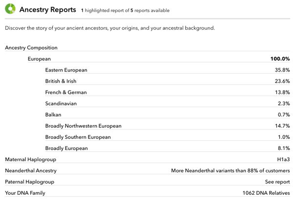 23andMe Ancestry Report Screenshot