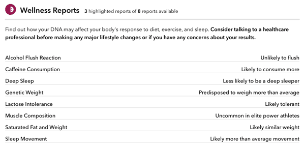 23andMe Wellness Report Screenshot