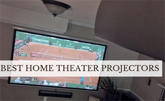 Tennis on home theater screen (caption: Best Home Theater Projectors)
