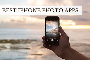 Person holding iphone taking photo (caption: Best iPhone Photo Apps)