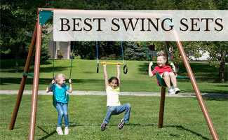 Kids playing on swing set (caption: Best Swing Sets)