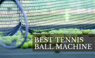 Tennis balls on court with racket (caption: Best Tennis Ball Machine)