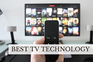 Person holding TV remote (caption: Best TV Technology)