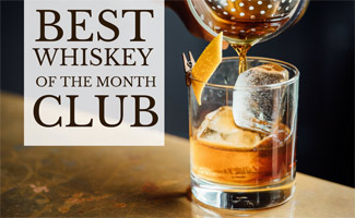 Whiskey being poured into a glass, caption: Best Whiskey Of The Month Club