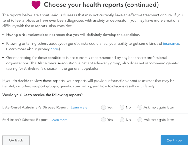23andMe health report screenshot