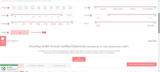 Screenshot of Diamond Options on James Allen Website