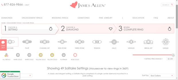 Screenshot of Ring Setting Selection on James Allen website