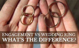 Couple holding pair of rings: Engagement Ring vs Wedding Ring