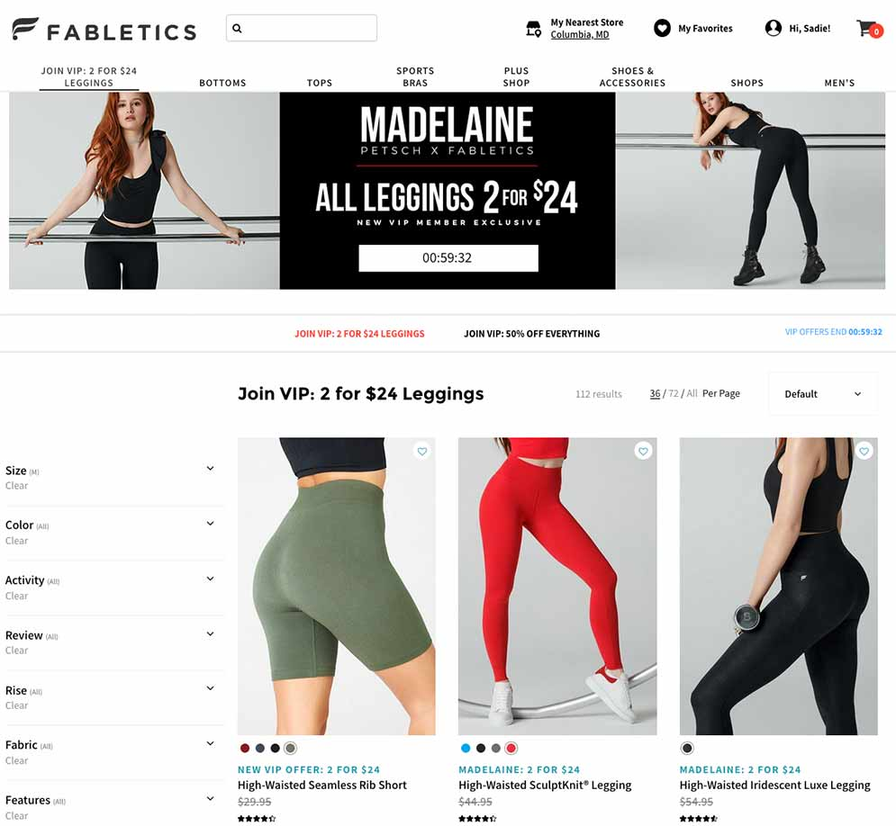 Fabletics 2 for $24 pants