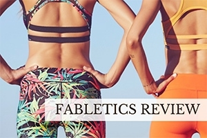 Two girls in yoga pants (caption: Fabletics Review)