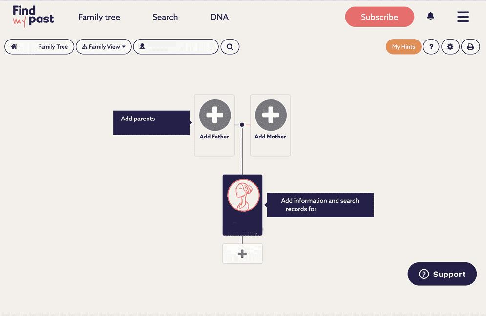 Findmypast family tree screenshot
