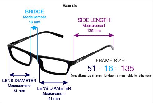 Eyeglasses with measurements
