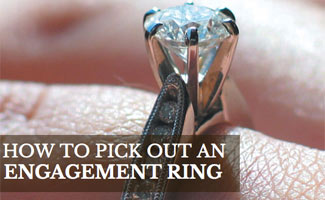 Engagement ring on finger (caption: how to pick out an engagement ring)