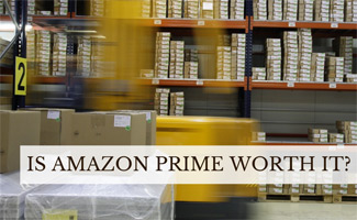 Warehouse with forklift (caption: Is Amazon Prime Worth It?)