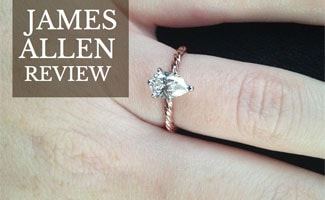Engagement ring on finger: James Allen Reviews