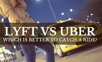 Woman waiting for cab with cell phone in hand: Lyft vs Uber