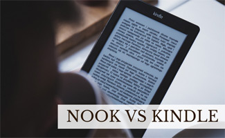 Person reading Kindle book (caption: Nook vs Kindle)