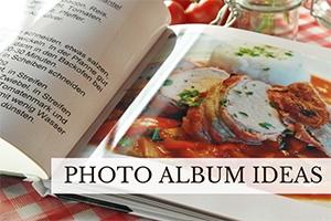 Cookbook page open (caption: Photo Album Ideas)