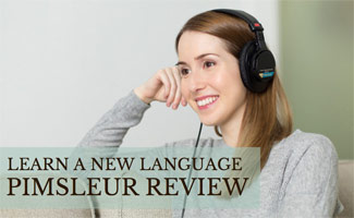 Girl listening to language learning on headphones: Pimsleur Review