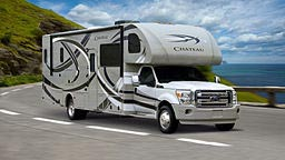 Class C motorhome on the road