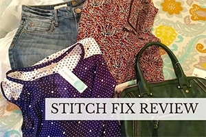 Clothes laid out on bed (caption: Stitch Fix Review)