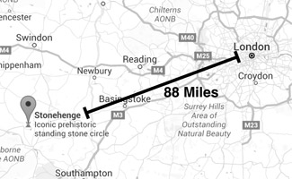 Map of Stonehenge distance to London