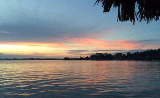 Sunset over water in Bocas del Toro