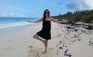 Suzy tree pose on the beach