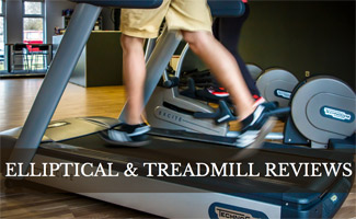 Person running on treadmill: Elliptical and Treadmill Reviews