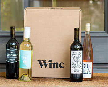 Winc box and bottles of wine